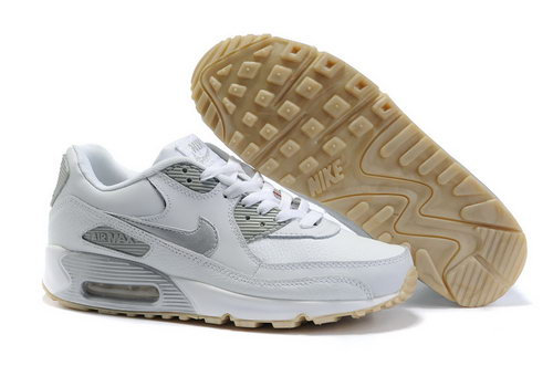 Nike Air Max 90 Womens Shoes Wholesale White Sliver Closeout