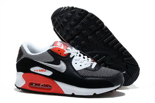 Nike Air Max 90 Womens Shoes New Special Black White Red Silver Uk
