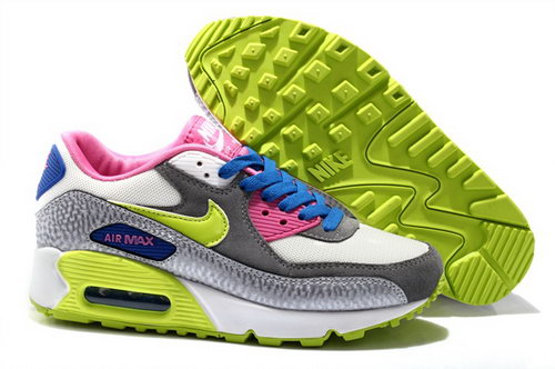 Nike Air Max 90 Womens Shoes New Special Colored Silver White Pink Blue Coupon Code