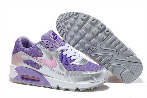 Nike Air Max 90 Womens Shoes New Special Silver Purple Pink Switzerland
