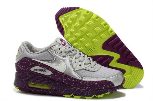 Nike Air Max 90 Womens Shoes New Special Silver White Wine Red Spot Sale