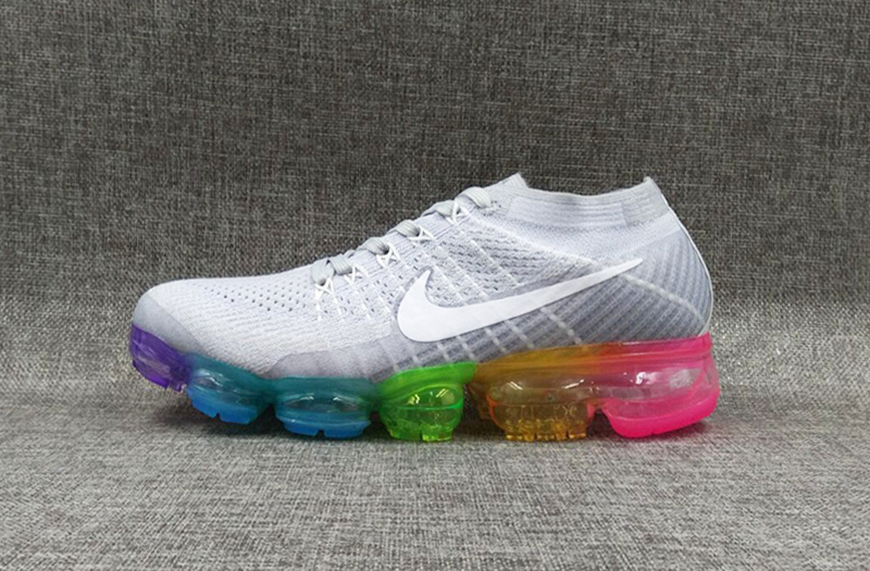 Nike flyknit Air VaporMax 2018 Women's Grey White Rainbow