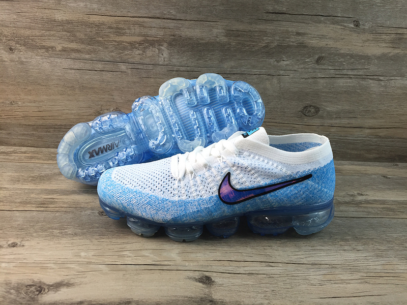 Nike flyknit Air VaporMax 2018 Men's Running Shoes White Blue