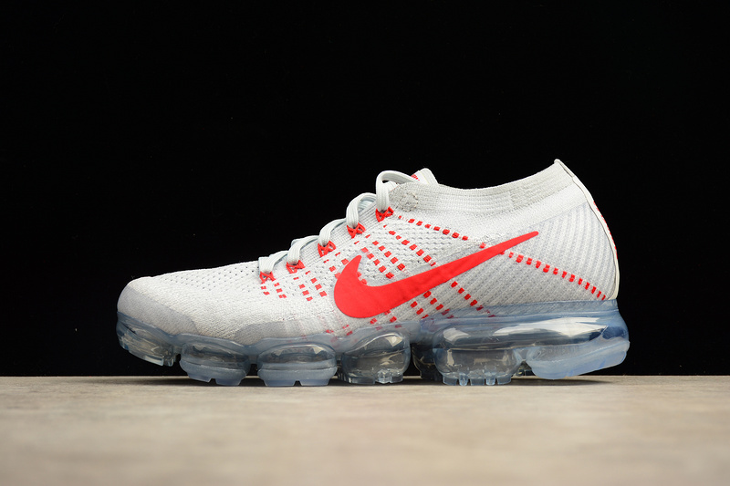 Nike flyknit Air VaporMax 2018 Men's White Grey Red