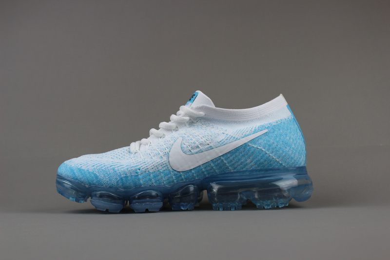 Nike flyknit Air VaporMax 2018 Men's White Skyblue