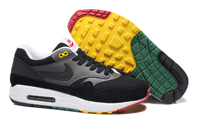 Cheap Outlet Men's Nike Air Max 1 Shoes Black Gray Sale Online