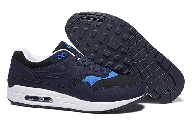 Buy Online Men's Nike Air Max 1 Shoes Navy Blue Black Cheap Sale