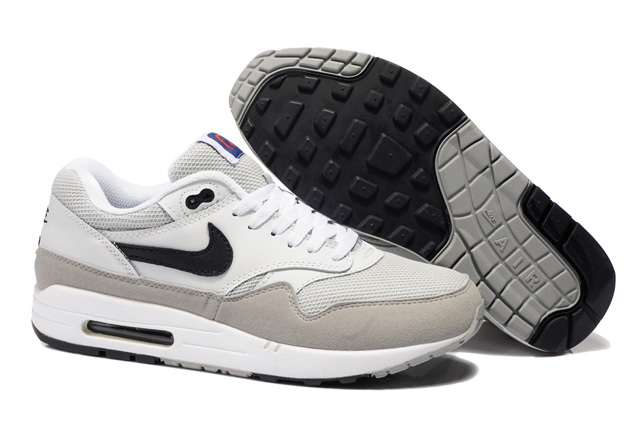 Online Shopping Men's Nike Air Max 1 Shoes Beige Gray Clearance Sale