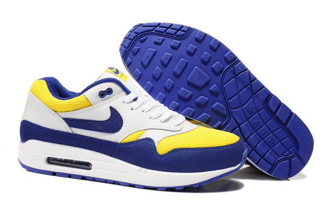 Cheap Retail Men's Nike Air Max 1 Shoes Blue Yellow White For Sale Online