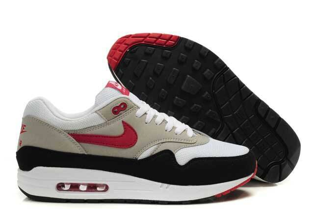 Cheap Price Men's Nike Air Max 1 Shoes Black Beige Red On Clearance