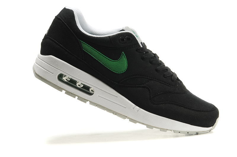 Discount Men's Nike Air Max 1 Shoes Black White Green Restock Sale