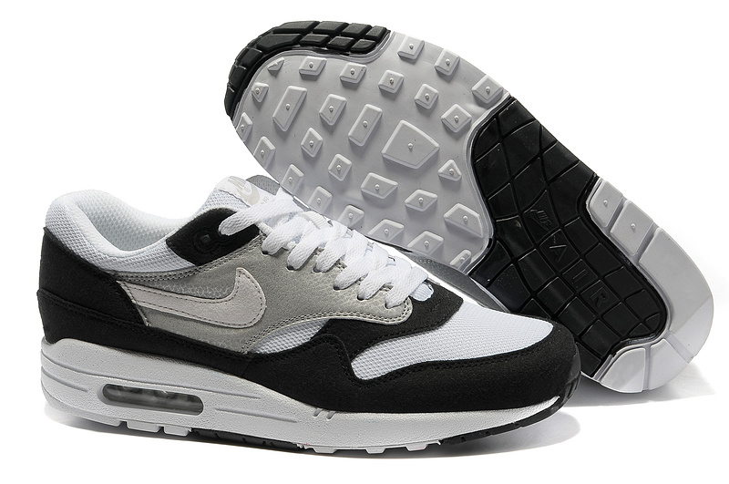 Buy Online Men's Nike Air Max 1 Shoes Gray White Black Cheap Sale