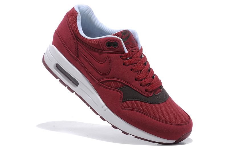 Online Shopping Men's Nike Air Max 1 Shoes Wine Black Clearance Sale
