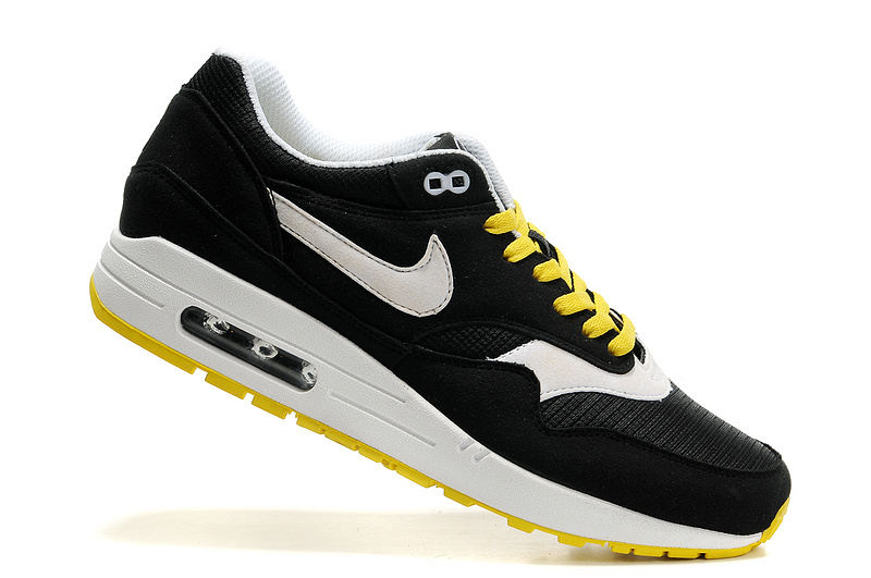 Cheap Retail Men's Nike Air Max 1 Shoes Black White Yellow For Sale Online