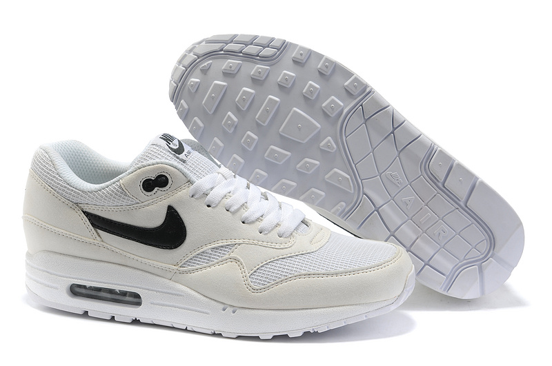 Sale Cheap Men's Nike Air Max 1 Shoes Beige White Black Online Store