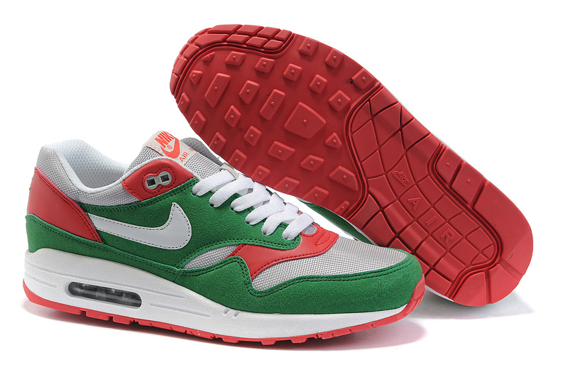 Cheap Price Men's Nike Air Max 1 Shoes Green Red On Clearance
