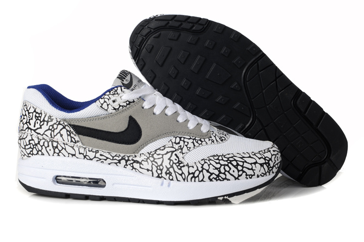 Discount Men's Nike Air Max 1 Shoes Gray Black Leopard Restock Sale