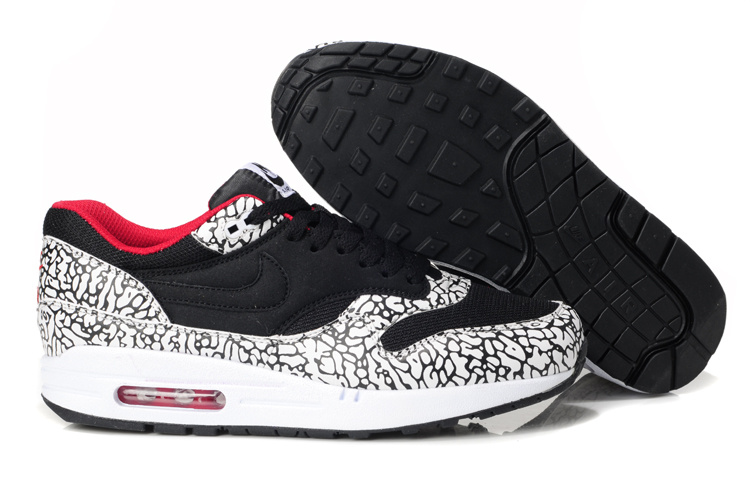 Outlet Men's Nike Air Max 1 Shoes Black Leopard Sale Clearance