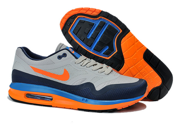 Outlet Clearance Men's Nike Air Max 1 Shoes Gray Navy Orange Cheap Shop