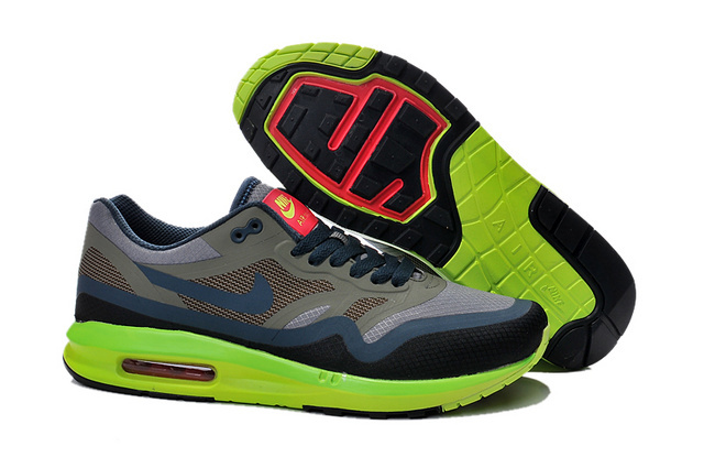 Cheap Retail Men's Nike Air Max 1 Shoes Gray Blue Flurorescent Green For Sale Online