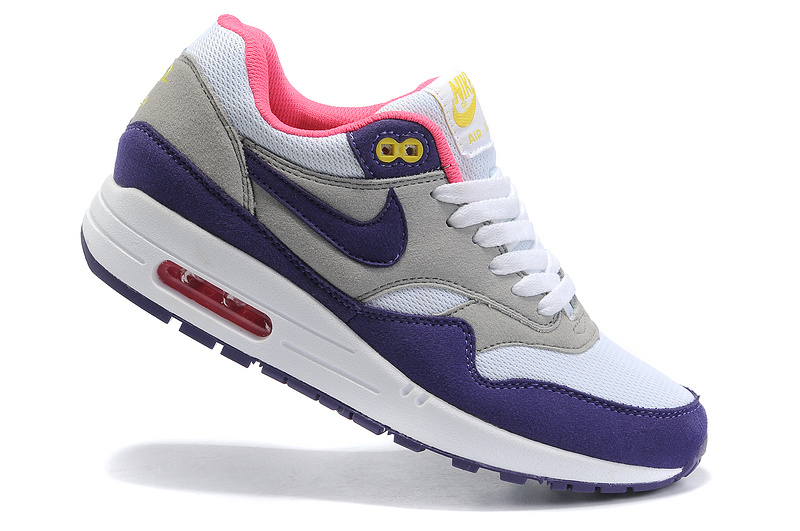 Cheap Price Women's Nike Air Max 1 Shoes Gray Purple Pink On Clearance