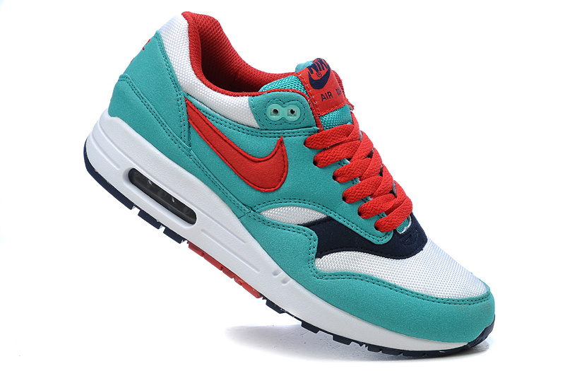 Discount Women's Nike Air Max 1 Shoes Blue Red Restock Sale