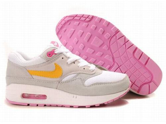 Retail Price Women's Nike Air Max 1 Shoes Gray White Pink Sale Cheap