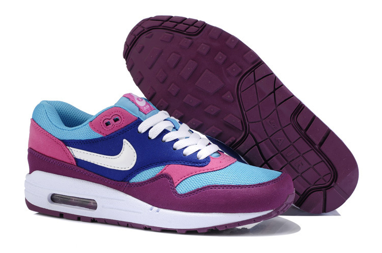 Wholesale Women's Nike Air Max 1 Shoes Purple Blue Pink Discount Sale