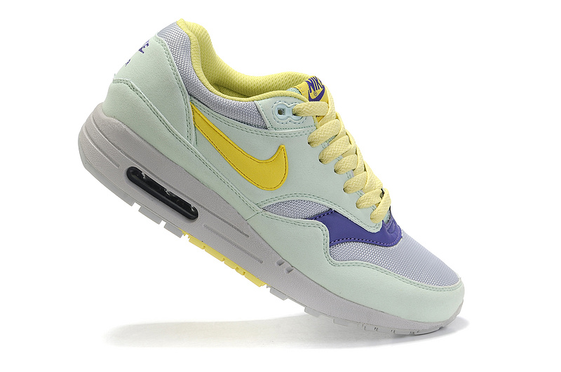 Outlet Women's Nike Air Max 1 Shoes Mint Yellow Gray Sale Clearance