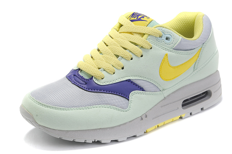 more photos b3d73 4974f ... Outlet Women s Nike Air Max 1 Shoes Mint Yellow Gray Sale Clearance ...