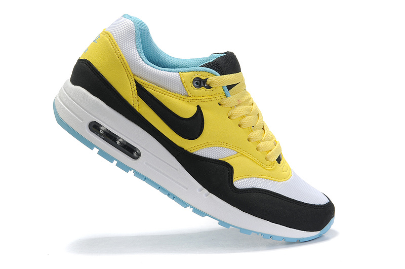 Restock Sale Women's Nike Air Max 1 Shoes Black Yellow White Online Discount
