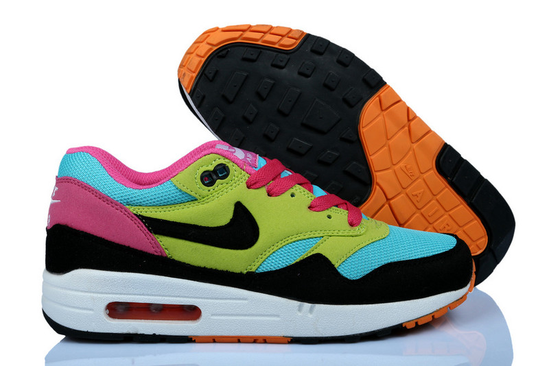 Buy Online Women's Nike Air Max 1 Shoes Green Black Blue Pink Cheap Sale