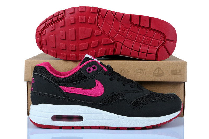 Online Cheap Women's Nike Air Max 1 Shoes Black Pink Wholesale