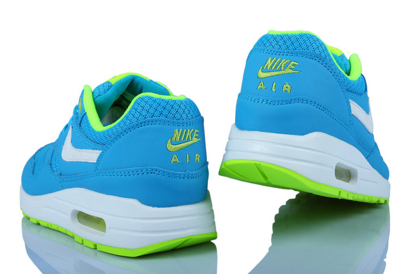 Outlet Clearance Women's Nike Air Max 1 Shoes Blue Flurorescent Green Cheap Shop