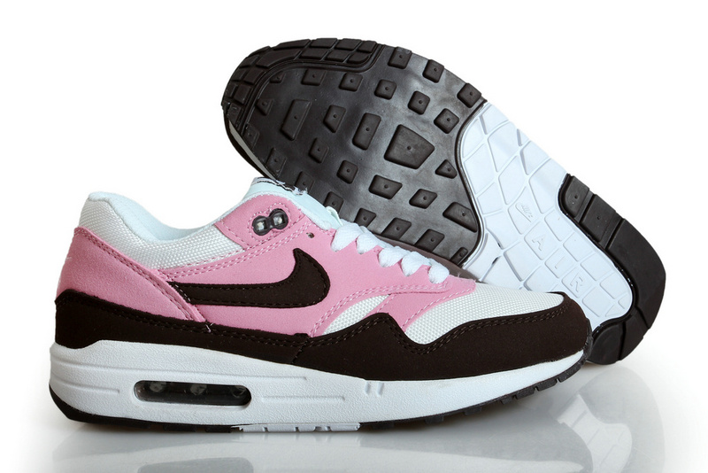 Online Shopping Women's Nike Air Max 1 Shoes Pink White Black Clearance Sale
