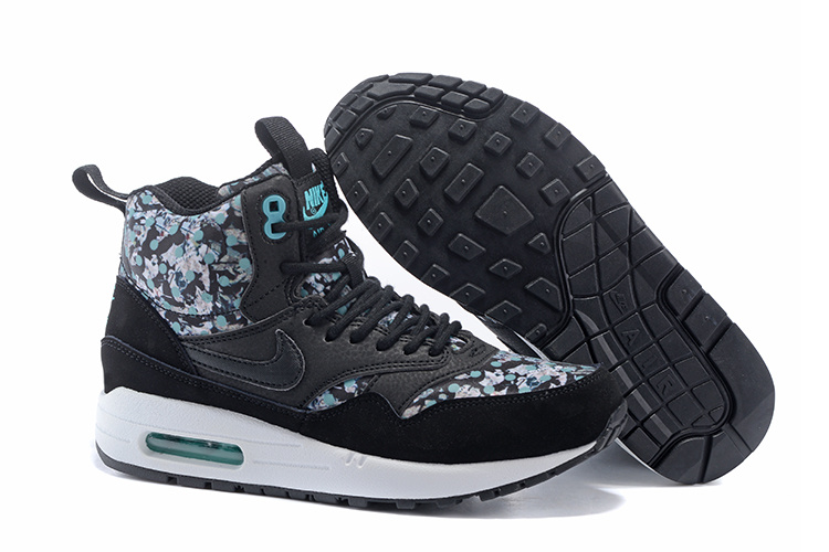 Online Cheap Women's Nike Air Max 1 Mid Sneakerboot LB QS Boots Black/Blue 706557-001 Wholesale
