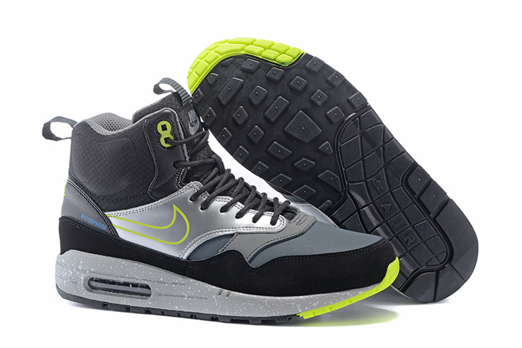 Online Shopping Women's Nike Air Max 1 Mid Sneakerboot LB QS Boots Black/Silver/Lime 685269-002 Clearance Sale