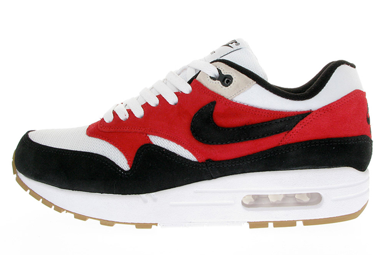 Discount Women's Nike Air Max 1 Running Shoes White/Black/Varsity Red 308866-101 Restock Sale