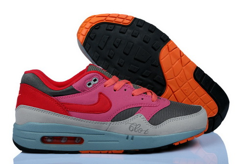 Cheap Price Women's Nike Air Max 1 Running Shoes Light Grey/Pink/Red 314232 On Clearance