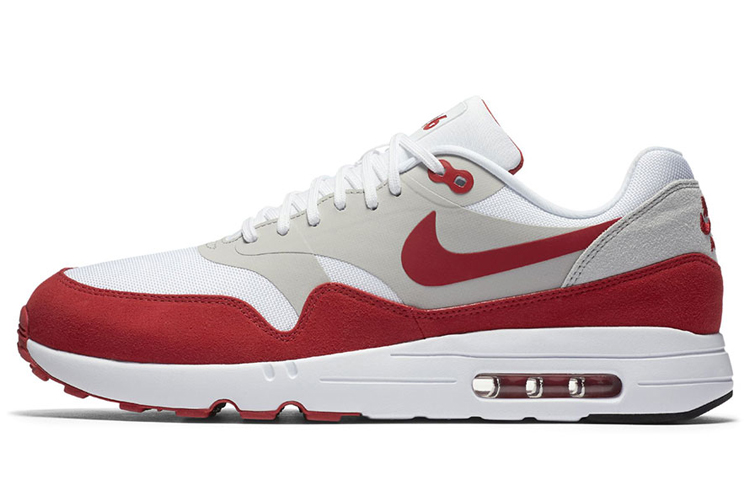Buy Online Men's Nike Air Max 1 Ultra 2.0 Running Shoes White/Neutral Grey/Varsity Red 908091-100 Cheap Sale