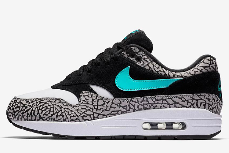 "Best Price Men's Atmos x Nike Air Max 1 ""Elephant"" Running Shoes Black/Clear Jade/White 908366-001 Online Retail"