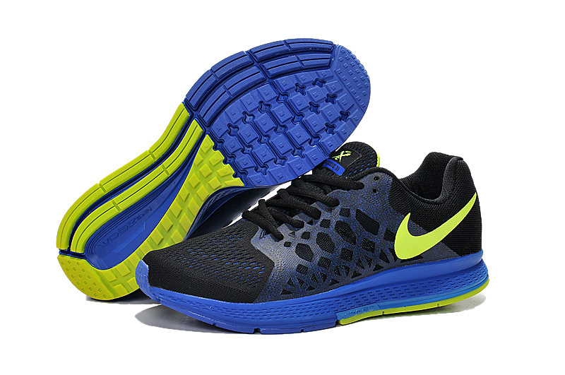 Men's Nike Air Zoom Pegasus 31 Running Shoes Black/Fluorescence Green/Royal Blue 652925-002