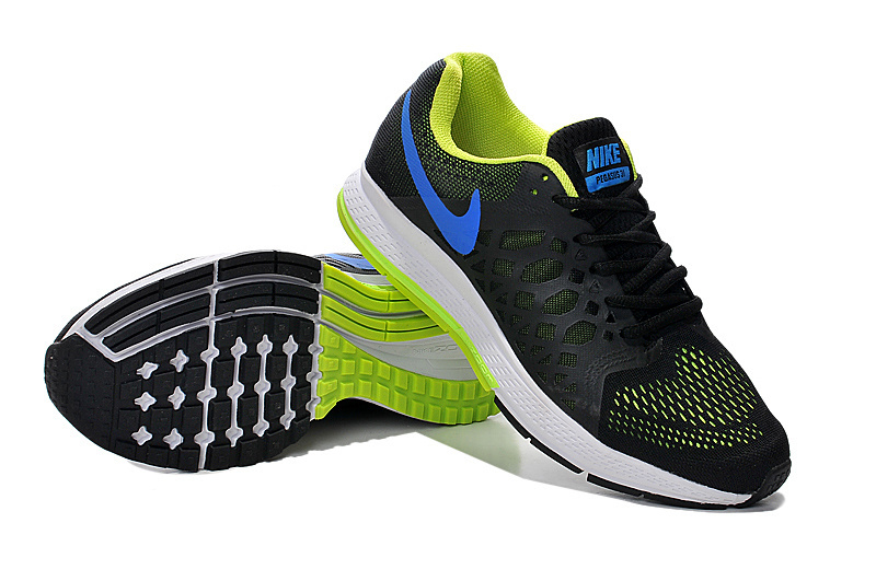 Men's Nike Air Zoom Pegasus 31 Running Shoes Black/Royal Blue/Fluorescence Green 652925-001