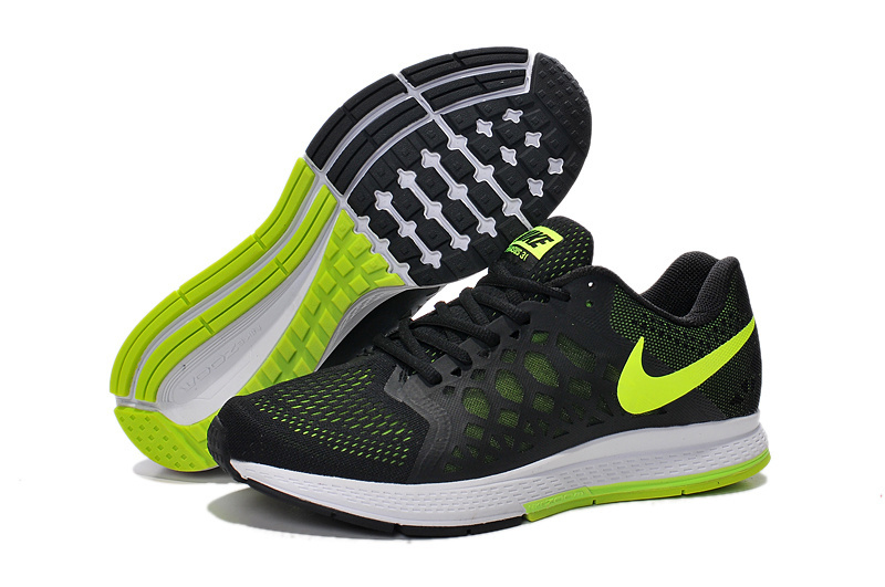 Men's Nike Air Zoom Pegasus 31 Running Shoes Black/Fluorescence Green/White 652925-688