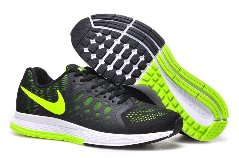 Men's Nike Air Zoom Pegasus 31 Running Shoes Black/Green 652925-007