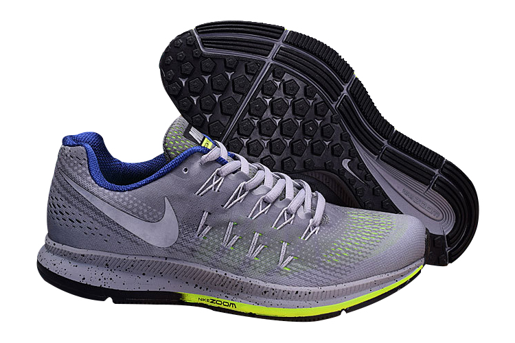 Men's Nike Air Zoom Pegasus 33 Running Shoes Grey/Fluorescent Green