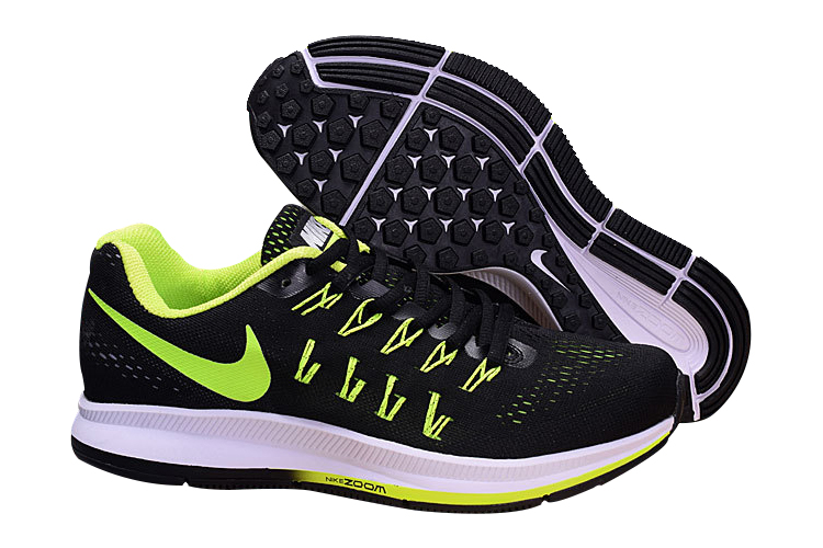 Men's Nike Air Zoom Pegasus 33 Running Shoes Black/Fluorescent Green