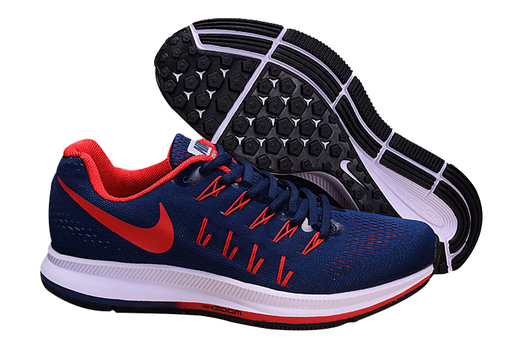 Men's Nike Air Zoom Pegasus 33 Running Shoes Navy/Red
