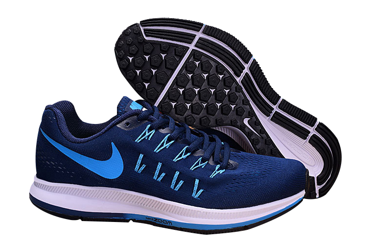 Men's Nike Air Zoom Pegasus 33 Running Shoes Navy/Light Blue