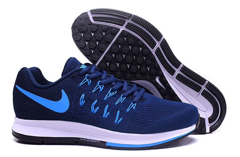 Men's Nike Air Zoom Pegasus 33 Running Shoes Dark Blue/Light Blue